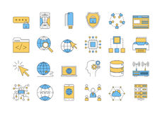 Linear COLOR icon set 3 - INTERNET TECHNOLOGY. Vector set of colored 24 linear outline icons. Internet technology isolated pictographs in blue and yellow colors Stock Photography