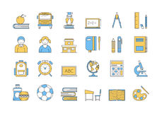Linear COLOR icon set 5 - SCHOOL EDUCATION. Vector set of 24 colored linear outline icons. School education isolated pictographs. Boy and girl, supplies for Stock Image