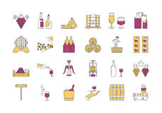 Linear COLOR icon set 4 - Wine production. Vector set of colored 24 linear outline icons. Wine production and service isolated pictographs. Viticulture Royalty Free Stock Image