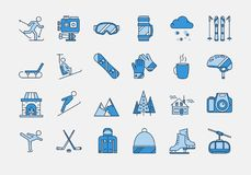 Blue WINTER SPORT icons set. Vector set of 24 colored linear outline icons. Winter rest, sports, tourism and outdoor activities. Snowboard, skier, figure skating Royalty Free Stock Photos
