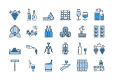 04 Blue WINE PRODUCTION icon set. Vector set of colored 24 linear outline light and dark blue icons. Wine production and service isolated pictographs Royalty Free Stock Image