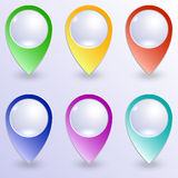 Vector set of colored map pins Stock Photo