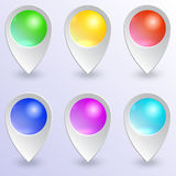 Vector set of colored map pins Royalty Free Stock Photography