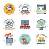 Vector set of colored movies labels, cinema badges and design elements. Films logo template. Outline flat consept style Royalty Free Stock Photos