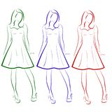 Vector set of colored outline drawing of three girls in dresses Stock Photography