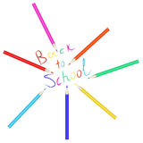 Vector set of colored pencils. The inscription back to school written with colored pencils. Stock Photo