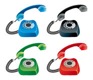 Vector set of colored phones. Blue red green black phones Stock Photos