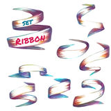Vector set of colored ribbons on transparent Royalty Free Stock Photos