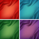Vector Set of Colored Silky Cloth Fabric Textile Drape with Crease Wavy Folds. Vector Set of Colored Red Green Blue Violet Purple Satin Silky Cloth Fabric Stock Photo