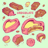 Vector set of colored sketches bitten chocolates. Sweet rolls, bars, glazed, cocoa beans. Vector set of colored hand-drawn sketches bitten chocolates. Sweet Royalty Free Stock Photos