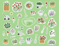 Vector set of colored stickers with garden tools, flowers, herbs, plants. vector illustration
