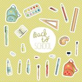Vector set of colored stickers with stationery royalty free illustration