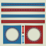 Vector set of colored stitches. Stitches of colored thread to create frames and objects Royalty Free Stock Photos