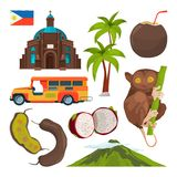Vector set of colored symbols of philippines. Illustration of traditional architecture and animal tarsier vector illustration