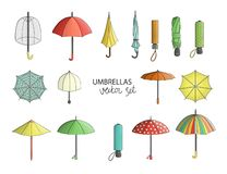 Vector set of colored umbrellas royalty free illustration