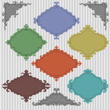 Vector set of colored vintage frames on grey background Royalty Free Stock Photo