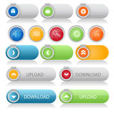 Vector set of colored web buttons. Illustration of vector set of colored web buttons design Stock Images