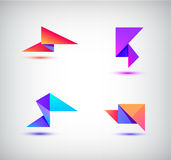 Vector set of colorful abstract 3d origami logos, icons. Stock Image