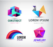 Vector set of colorful abstract logos. Design elements, identity for company, web icons. Crystal, construction, origami Stock Illustration