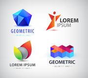 Vector set of colorful abstract logos. Design elements, identity for company, web icons. Man, sphere, crystal, origami structure logotypes Royalty Free Illustration