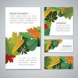 Vector set of colorful,  autumn leaves banners Royalty Free Stock Photo