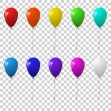 Vector set of colorful balloons for festive design.  on transparent background. Set of colorful balloons for festive design.  on transparent background. Vector Royalty Free Stock Photography