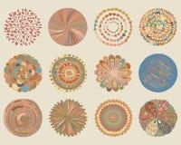 Vector set of colorful beautiful deco mandalas. Stock Photo