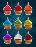 Vector Birthday Cupcakes Royalty Free Stock Image