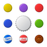 Vector set of colorful bottle caps. Isolated on white. Royalty Free Stock Photos