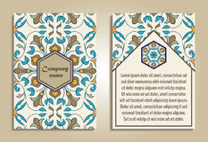 Vector set of colorful brochure templates for business and invitation. Portuguese, Moroccan; Azulejo; Arabic; asian ornaments Royalty Free Stock Image