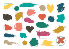 Vector set of Colorful Brush Strokes  On White Background. Stock Images