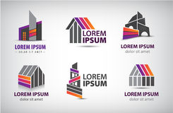 Vector set of colorful buildings, houses logos Stock Photos
