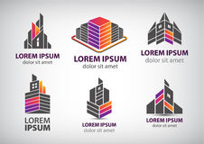 Vector set of colorful buildings, houses logos Stock Photo