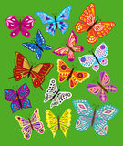 Vector set of colorful butterflies. Royalty Free Stock Photo