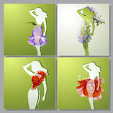 Vector set of colorful cards with girls. Vector collection of colorful cards with girls and flowers Stock Image