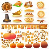 Vector set of colorful cartoon elements for Thanksgiving day. Collection with autumn and thanksgiving food and symbols  on white background. Includes pumpkin Royalty Free Stock Image