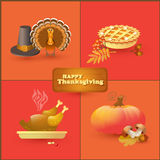 Vector set of colorful cartoon elements for Thanksgiving day. Stock Photo