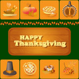 Vector set of colorful cartoon elements for Thanksgiving day. Stock Photography