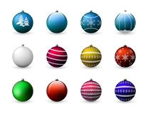 Vector set of colorful Christmas balls. Decoration for holiday design. Isolated on white background. Royalty Free Stock Photo