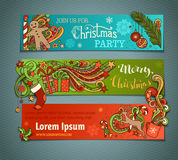 Vector set of colorful Christmas banners. Christmas tree and baubles, Santa sock, hat and beard, holly berries, gift boxes, snowman, swirls and hand-written Stock Photos