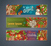 Vector set of colorful Christmas banners. Christmas tree and baubles, Santa sock, hat and beard, mistletoe, gift boxes, snowman, swirls, gingerbread man, sweets Royalty Free Stock Photos