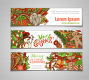Vector set of colorful Christmas banners. Christmas tree and baubles, Santa sock, hat and beard, mistletoe, gift boxes, snowman, swirls and hand-written text Stock Images