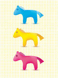 Vector set of colorful cute toy horses icons Stock Photos