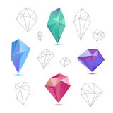Vector set of colorful 3d and line diamonds royalty free illustration