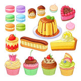 Vector set of colorful desserts macarons, profiteroles, pie, strawberry fraisier, eclair, lemon cake, flan, meringues. Vector set of delicious colorful desserts Royalty Free Stock Photos