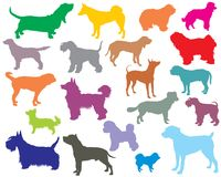 Set of colorful dogs silhouettes-5. Vector set of colorful  different breeds dogs silhouettes on white background. Part 5 Stock Image