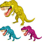 Vector Set of colorful dinosaur tyrannosaurs Stock Image