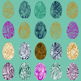 Vector set of colorful Easter eggs. EPS 8. Stock Photo