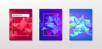 Vector set of colorful facet geometric covers design. Triangular pattern gradients. 3d shapes with frames. Annual report. Catalog, book, brochure, flyer vector illustration