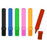 Vector Set of Colorful Felt-tip Pens Stock Images